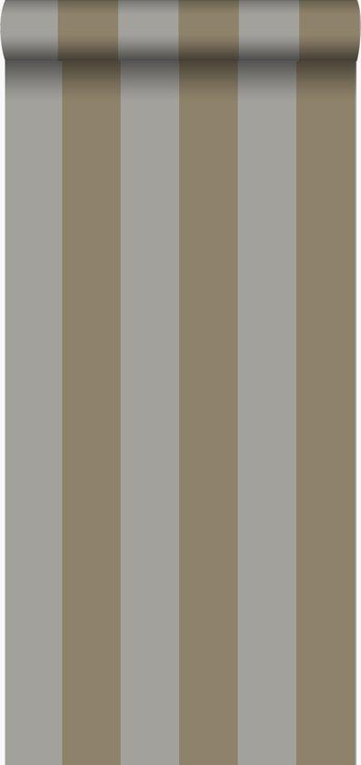 Origin behang strepen taupe en glanzend brons