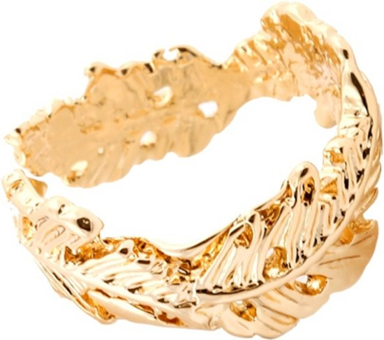 24/7 Jewelry Collection Blad Ring Verstelbaar - Verstelbare Ring - Goudkleurig