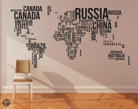 Muursticker wereldkaart 190x116 cm design decoratie - Eigentijdse design decoratie ...