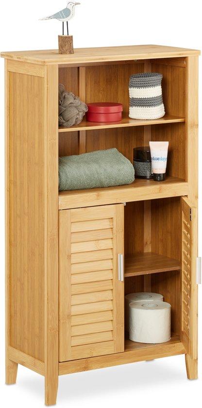 bol.com | relaxdays - badkamerkast LAMELL bamboe - kastje - kast ...