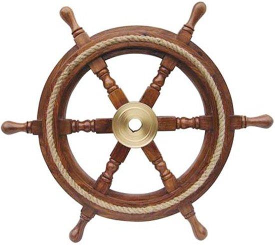 Stuurwiel Hout - Decoratief - Stuurwiel Boot - Met touw - Diameter 30 cm