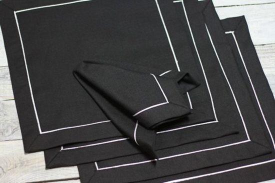 Servet , zwart met witte streep , set @ 6 , 36x36