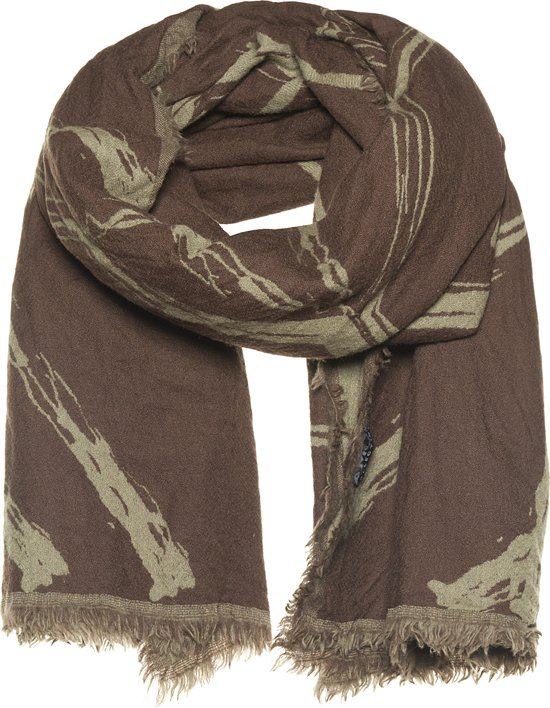 Amor Collections - Dubbel geweven sjaal - Wol - Taupe/Bruin - 100x200 cm