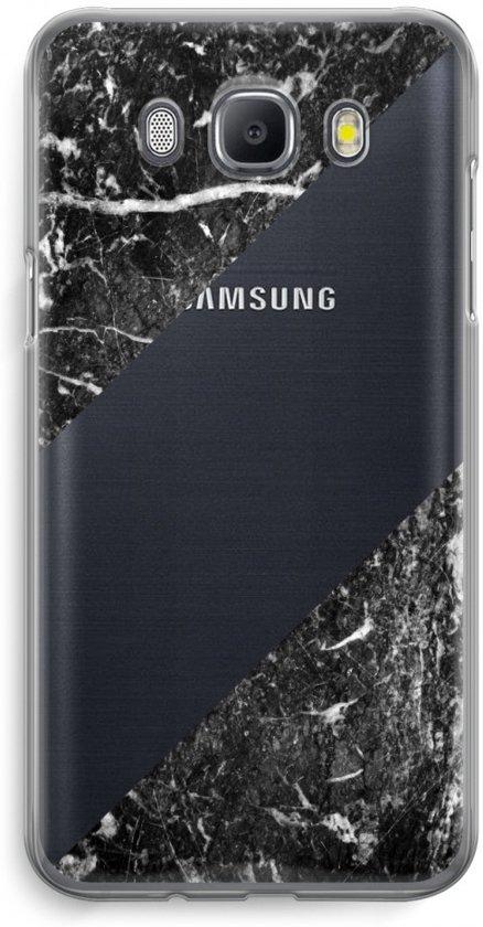 Samsung Galaxy J5 (2016) Transparant Hoesje (Soft) - Zwart marmer