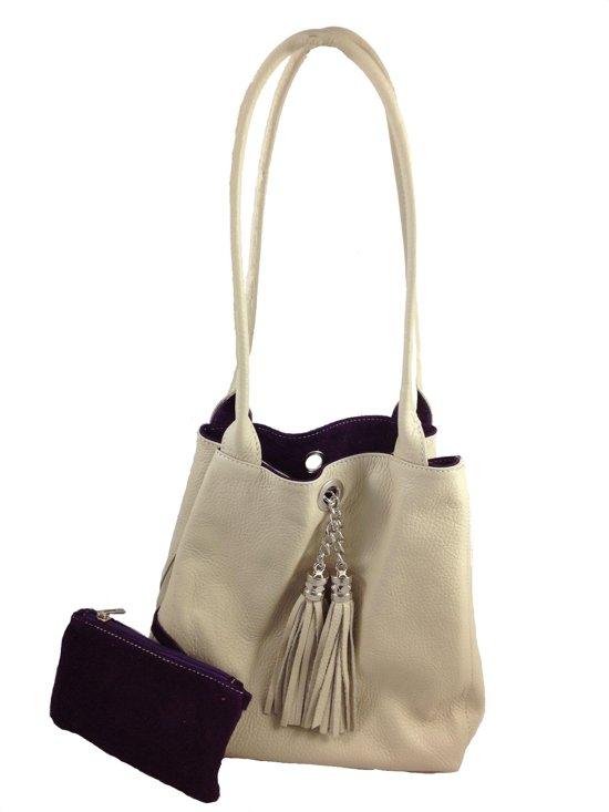 Bags and Tulips omkeerbare schoudertas Lyn leer/suede crème/paars