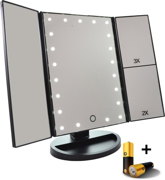 make up spiegel met led verlichting drieluik 2 3 maal vergroting inclusief usb kabel. Black Bedroom Furniture Sets. Home Design Ideas