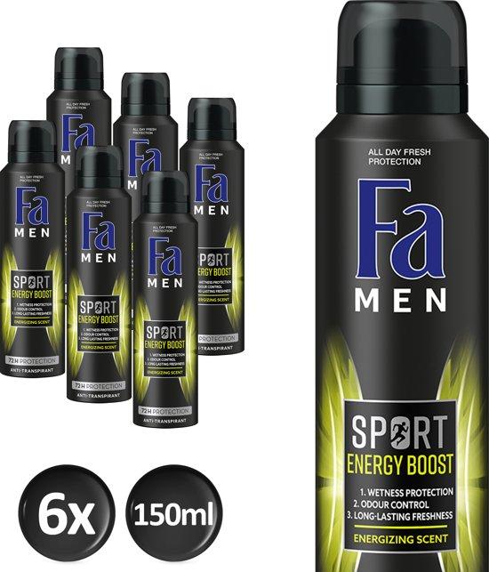 Fa Men Sport Double Power Boost - 6x 150 ml - Voordeelverpakking - Deodorant
