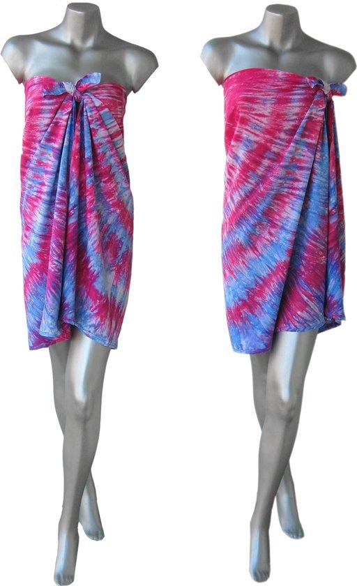 3fb2e19db0a58c Sarong Pareo StrandLaken Hamamdoek Tie Dye Roze - Blauw 100% Beste  Kwaliteit Rayon Viscose Wikkeljurk