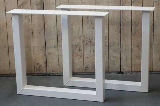 Witte Stalen Poten Tafel.Stalen U Poten Tafel Set A 2 Stk Wit Gepoedercoat
