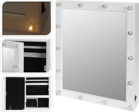 Spiegel Met Led : Bol showbizzspiegel houten sieradenkast met spiegel en