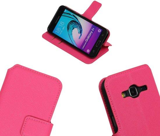 MP Case Roze ribbel structuur TPU PU leder hoesje voor de Samsung Galaxy J3 Booktype - Telefoonhoesje - smartphonehoesje - beschermhoes. in Saint-Denis-Bovesse