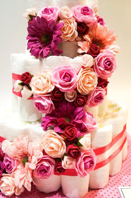 Luiertaart - Pampertaart Meisje Flora - 54 Pampers - Roze Fuchsia