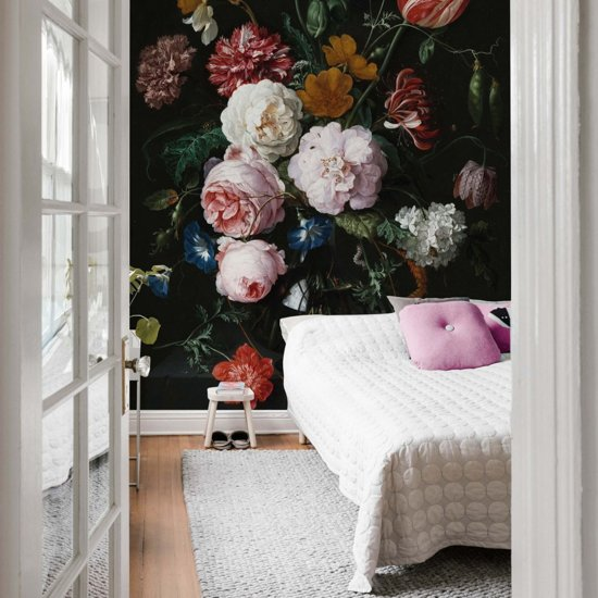 Fotobehang de Heem - Stilleven met Bloemen in Vaas - topkwaliteit fotobehang 192x300 cm