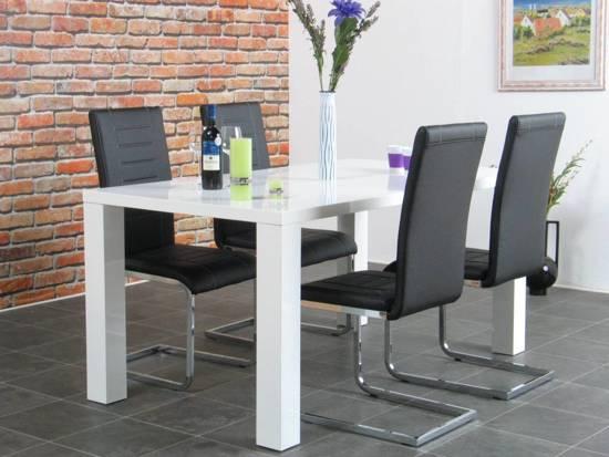 Cool Bol Com Eethoek Hoogglans Wit Paya Met Vier Zwarte Stoelen Bralicious Painted Fabric Chair Ideas Braliciousco