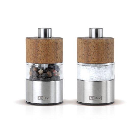 AdHoc Acia Mini Peper en Zoutmolen - Hout - 6,2 cm - 2 stuks