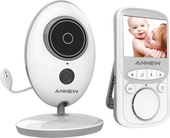 Annew Babyfoon met Camera | 2.4 Inch Video Babyphone | Baby Monitor met Kleurenmonitor | Wit