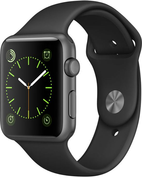 Apple Watch Classic Smartwatch 42mm Spacegrijs Aluminium Zwart Sportband