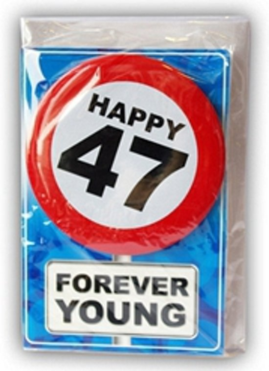 47 jaar bol.| Happy Birthday kaart met button 47 jaar, Merkloos  47 jaar