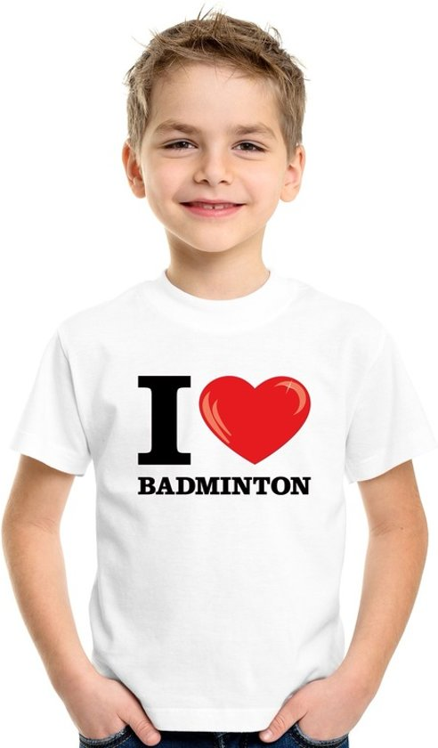 Wit I love badminton t-shirt kinderen L (146-152)