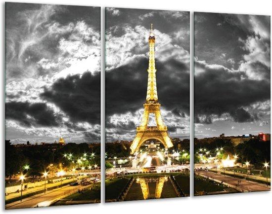 Glasschilderij Eiffeltoren | Grijs, Bruin, Zwart | 120x80cm 3Luik | Foto print op Glas |  F003003