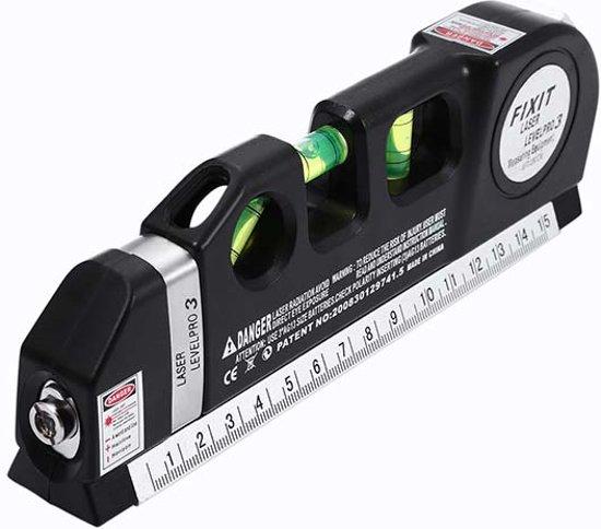 Laserwaterpas - 3in1 Laser waterpas (horizontaal, verticaal en kruis-lijn) met 3 libellen en een ingebouwde lintmeter van 2,5m