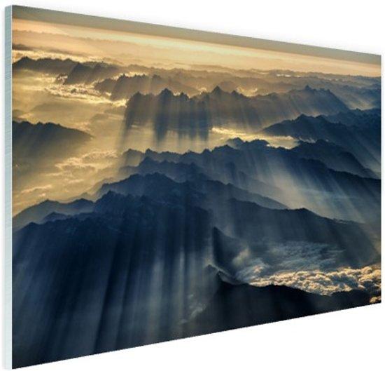 Himalaya zonsopkomst Glas 90x60 cm - Foto print op Glas (Plexiglas wanddecoratie)