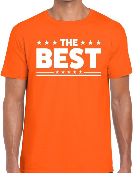The Best tekst t-shirt oranje heren - heren shirt The Best - oranje kleding 2XL