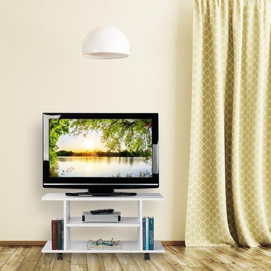 Laag Tv Meubel Op Wieltjes.Bol Com Relaxdays Tv Kast Op Wielen Televisietafel