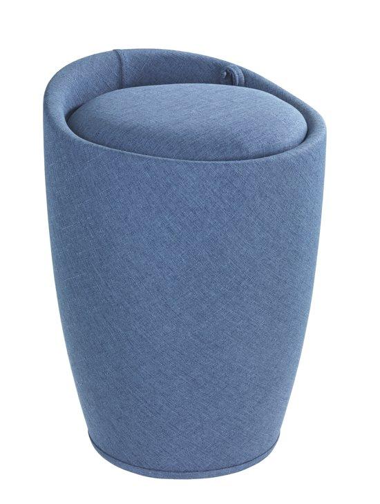bol.com | Wasmand blauw / badkamer stoel met uitneembare waszak