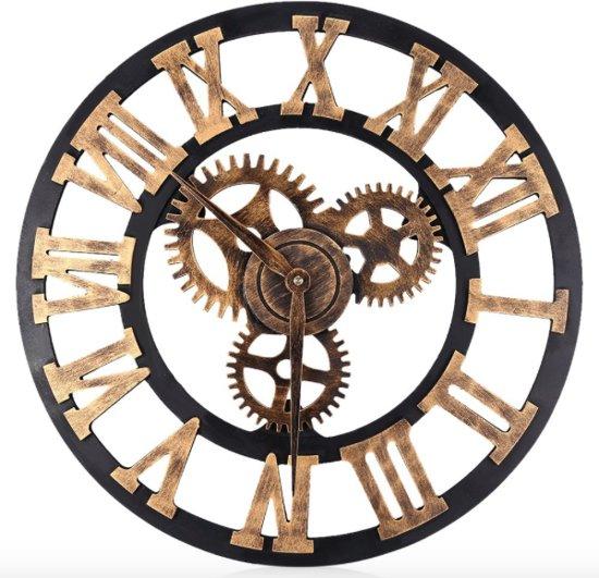 Grote Wandklok Industrieel Retro – Houten 3D Design Klok – Brons