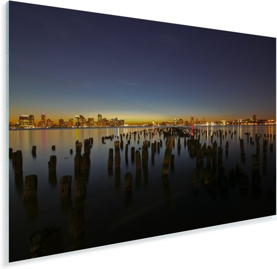 Zonsondergang over Jersey City en de Hudson rivier in Amerika Plexiglas 180x120 cm - Foto print op Glas (Plexiglas wanddecoratie) XXL / Groot formaat!