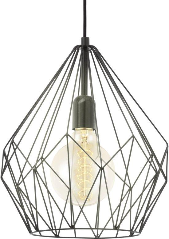 eglo vintage carlton hanglamp 1 lichts 310mm zwart. Black Bedroom Furniture Sets. Home Design Ideas