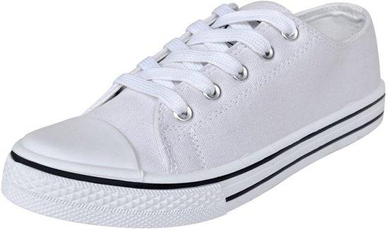 | Klassieke lage sneakers met veters voor dames wit