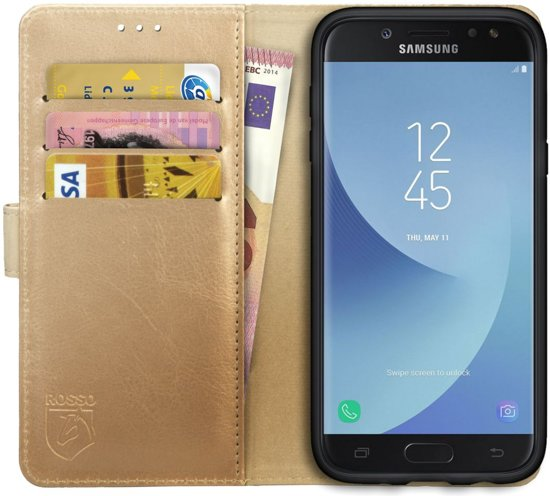 newest 55517 865e8 Rosso Element Samsung Galaxy J5 2017 Hoesje Book Cover Goud