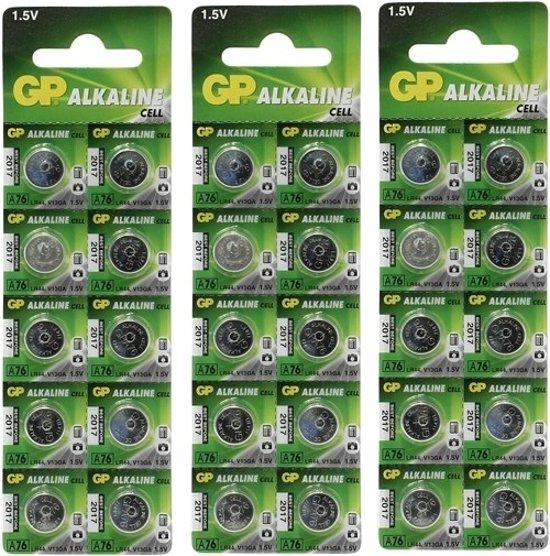 30 Stuks (3 Blisters a 10st) - GP LR44/76A/V13GA/A76 1.5v Alkaline knoopcel batterij
