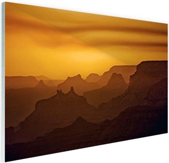 Zonsondergang over Grand Canyon Glas 60x40 cm - Foto print op Glas (Plexiglas wanddecoratie)