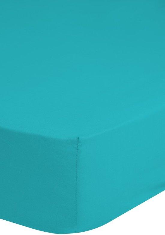 Hoeslaken Katoen Strijkvrij Aqua-160 x 200 cm