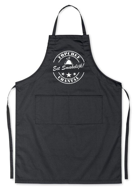 Mijncadeautje Exlusieve Schort - Top Chef - met je eigen naam - mooie en exclusieve keukenschort - zwart