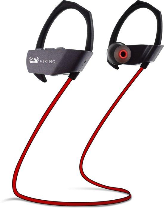 EarHackz® Viking - Draadloze In-ear Bluetooth Sport Oordopjes - Headset Koptelefoon - Voor hardlopen of fitness - Zwart/grijs/rood