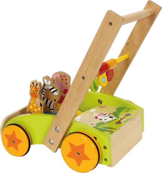 Loopwagen (baby walker) hout met activiteiten - Vrolijke dieren - Houten speelgoed vanaf 1 jaar