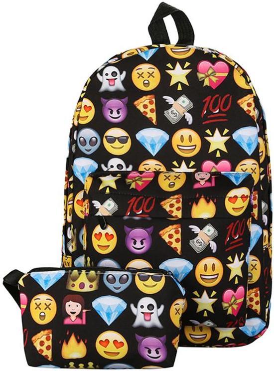 2e3d7828506 bol.com | Emoji rugzak Incl etui - 37 cm hoog - Zwart