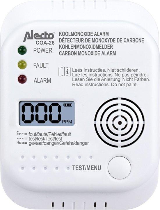 Alecto COA-26 Koolmonoxide melder - 7 jaar sensor - Met display en temperatuurweergave - Testknop - Wit