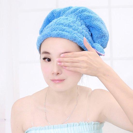 Sneldrogende Microvezel Haar Handdoek- Microfiber Hoofd Douche Handdoek- Blauw
