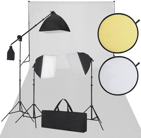 vidaXL - Fotostudio set met witdoek 3 daglichtlampen en reflectorset