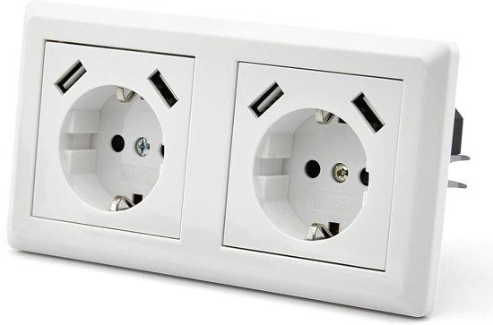 Homra Inbouwstopcontact met USB - dubbel