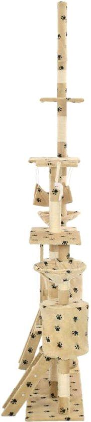 vidaXL Kattenpaal met sisal krabpalen 230-250 cm pootafdrukken beige