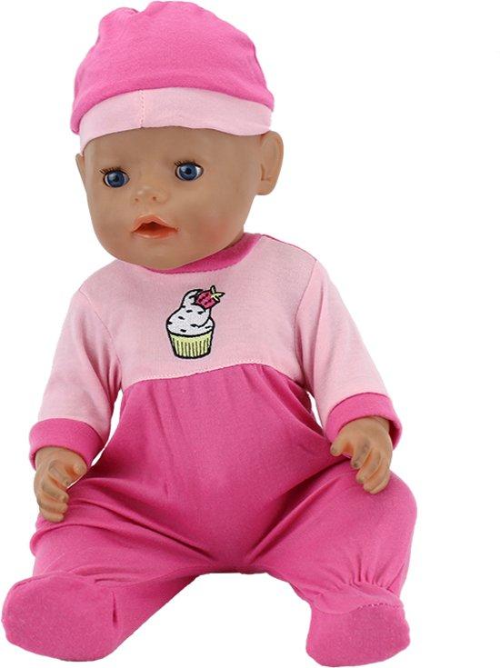 B-Merk Baby Born kleertjes, roze met cupcake, pakje met mutsje