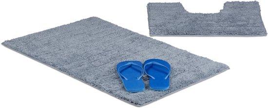bol.com | relaxdays badkamermatten set, strepen, badmat WC-mat, 80 x 50