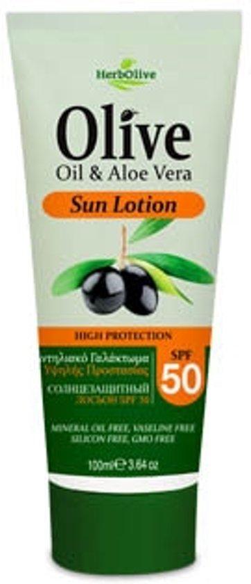 HerbOlive Zon Lotion SPF 50 Olijfolie en Aloe vera 100ml