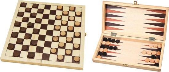 Dam- en backgammonset - veldmaat 30mm - 29 x 14,5 x 4.5 cm